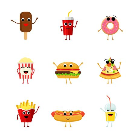 Set of funny fast food characters isolated on white background. Cute cartoon fastfood menu icons in flat style vector illustration.  イラスト・ベクター素材