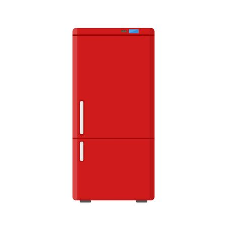 Red household appliances fridge isolated on white background. Electronic device refrigerator. Home appliance freezer vector illustration.