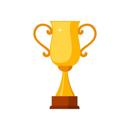 Gold winner cup with wooden base isolated on white background. Gold prize award icon vector illustration Illustration