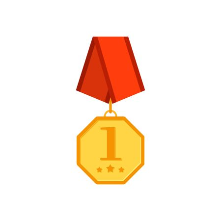 Gold medal hexagon with red ribbon isolated on a white background. Award gold winner prize icon vector illustration in flat tyle Illustration