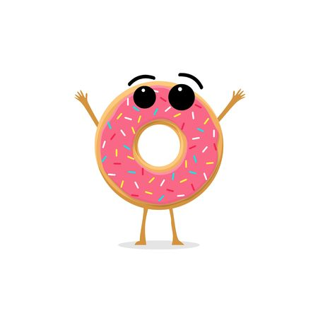 Funny and cute Donut with pink glazing and sprinkles character isolated on white background. Donut with smiling human face vector illustration. Kids restaurant menu Illustration