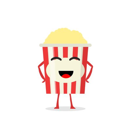 industry trends: Funny and cute Popcorn character isolated on white background. Popcorn with smiling human face vector illustration. Kids restaurant menu