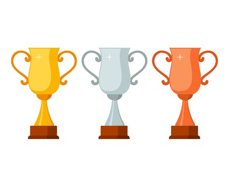 Trophy winner Cups with wooden base isolated on white background. Gold, silver and bronze prize award cups icon