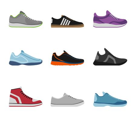 Comfortable shoes collection isolated on white background. Sportwear sneakers, everyday footwear clothing in flat style. High and low keds, footwear for sport and casual look vector illustration. Illustration