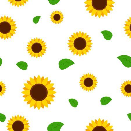 緑の葉のシームレスなパターンを持つひまわり。白い背景のひまわりベクトル イラスト