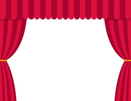 Stage curtains isolated on white background in flat style. Theater vector illustration.