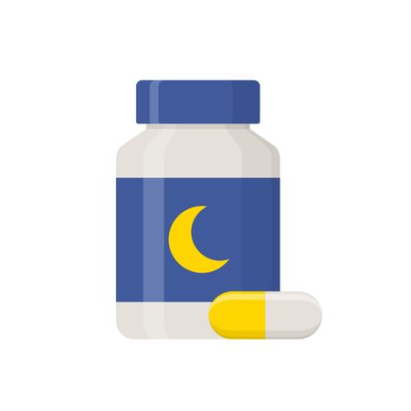 soporific: Sleeping pills islated on white background. Medical product, Pharmaceuticals bottle icon in flat style vector illustration.