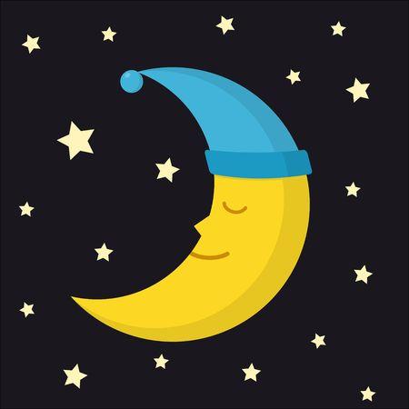 Sleeping moon in nightcap and stars on dark night background. Crescent in hat vector illustration