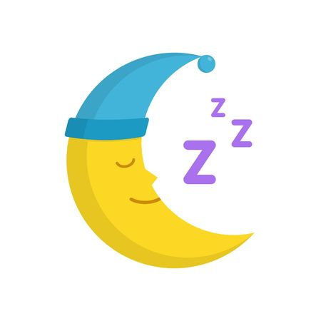 baby: Sleeping moon in nightcap isolated on white background. Crescent in hat vector illustration Stock Photo