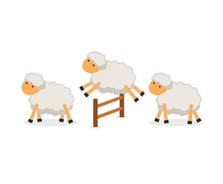 Pecore sveglie che saltano sopra il recinto isolato su fondo bianco. Contando le pecore per addormentarsi. Illustrazione vettoriale