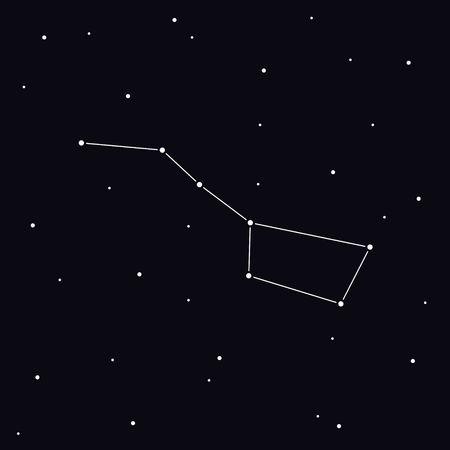 Big Dipper constellation in night sky. Ursa Major Illustration