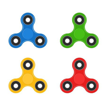 Fidget spinner set isolated on white background. Stress relieving, hand spin toy icon.