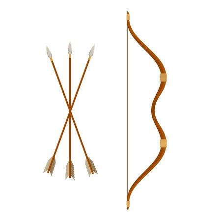Bow and arrows isolated on white background. Archery or hunter tools. Vector illustration. Illustration