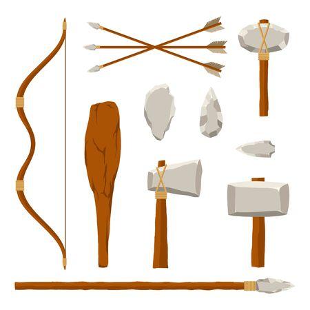 Oude hulpmiddelenreeks die op witte achtergrond wordt geïsoleerd. Jagende en militaire wapenvoorhistorische mens. Primitieve cultuurtool in vlakke stijl. Vector illustratie. Vector Illustratie