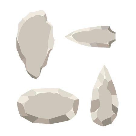 Ancient stone tools set isolated on white background. Primitive culture Stone age tool in flat style. Vector illustration. Ilustração