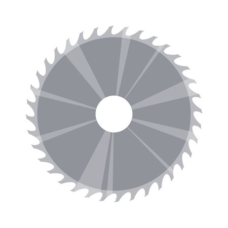 Circular saw blade in flat style isolated on white background. Vector illustration