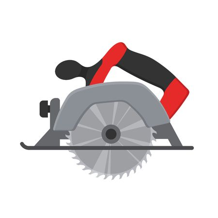 Electric Circular saw wood cutter isolated ot white background. Professional instrument, working tool. Vector illustration Illustration