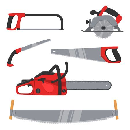 Lumberjack and woodworking tools icons isolated on white background. Axeman instruments saw set. Carpentry tools for sawing wood products. Timber industry vector illustration.