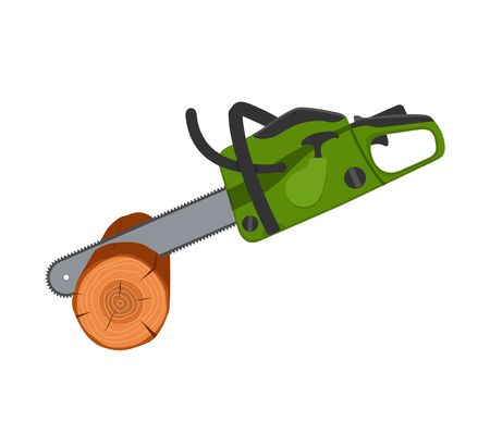 Chainsaw sawing wood tree isolated on white background. Professional instrument, working tool. Petrol chain saw. Vector illustration