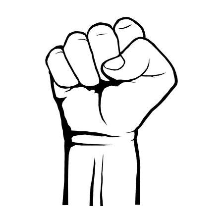 Menselijke gebalde vuist. Protest, rebellenrevolutieposter. Een symbool van kracht en superioriteit, succes, strijd om zijn dip, schets zwart en wit. Vector illustratie