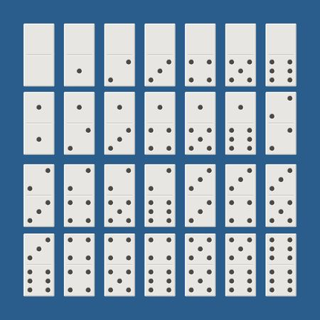 White domino full set. Classic game dominoes in flat style. Dominoes bones set 28 pieces Vector illustration