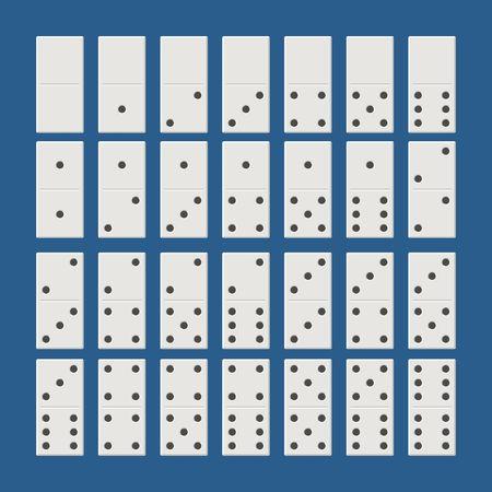 Witte dominosteneerset. Klassieke speldomino's in vlakke stijl. Dominoes botten instellen 28 stuks Vector illustratie