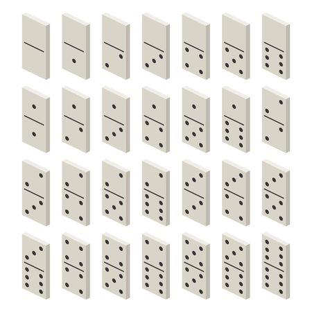 Isometrische witte domino-volledige set. Klassieke game-dominostenen. Dominoes botten instellen 28 stuks Vector illustratie Stock Illustratie