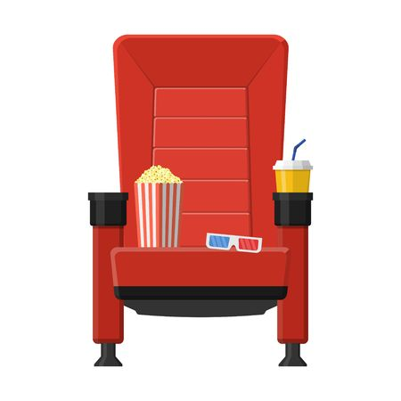 Cinema seat with popcorn, drinks and 3D glasses icon. Stock Illustratie