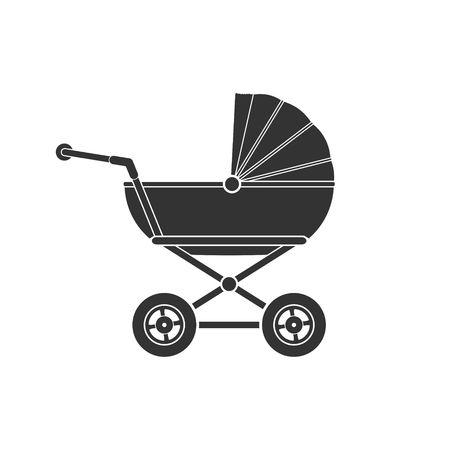 Baby stroller icon isolated on white background. Children pram, baby carriage icon vector illustration Stock Photo