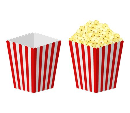 White and red striped paper popcorn bag isolated on white background. Çizim