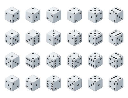 Set 24 authentic icons of dice in all possible turns. Twenty four variants loss dice. White game cubes isolated on white background. Board games dice in 3D view. Vector isometric illustration. Vectores