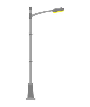 Street light isolated on white background. Outdoor Lamp post in flat style. Vector illustration