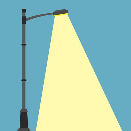 Street lighting flat banner. City night street light with light from streetlight lamp. Outdoor Lamp post in flat style. Spotlight Vector illustration Vectores