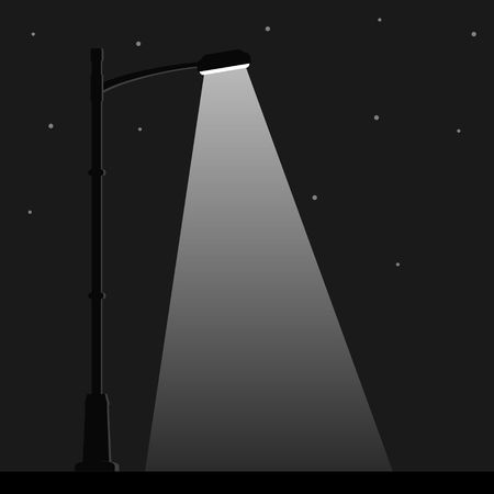 City night street light with light from streetlight lamp. Outdoor Lamp post in flat style. Spotlight Vector illustration