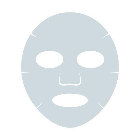 Máscara facial da folha isolada no fundo branco. Ilustração em vetor cosmetologia, medicina e cuidados de saúde em estilo simples. Ilustración de vector