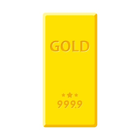 Gold bar isolated on white background. Golden bullion view from above vector illustration.