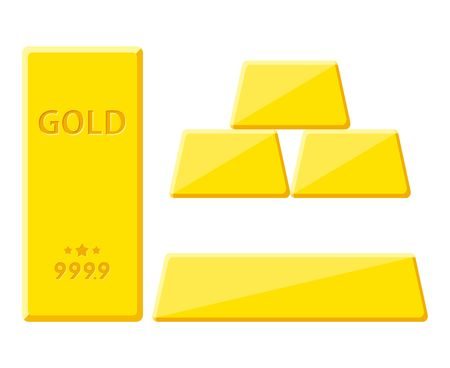 Gold bar isolated on white background. Golden bullion view from different sides vector illustration.