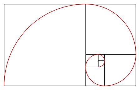 Golden ratio template, proportion symbol. Graphic design element, golden section spiral vector illustration.