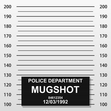 犯罪者のマグショットライン。警察のマグショットは、写真を追加します。写真用のセンチメートルスケールで空白の刑事警察がラインナップ。ベクトルイラスト
