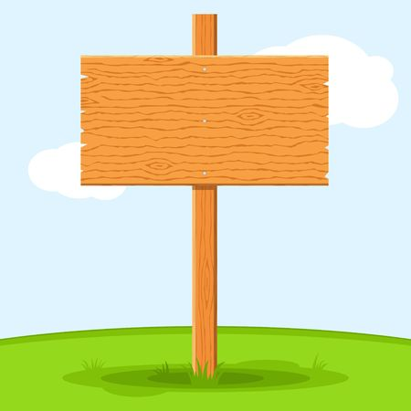 Wooden signboard in grass isolated on grass sky background. Signs board and symbols to communicate a message on street or road, emblems of signages. Banner template with wood texture. Vector Ilustração