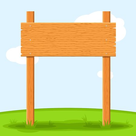 Houten uithangbord in gras dat op de achtergrond van de grashemel wordt geïsoleerd. Bordenbord en symbolen om een bericht op straat of op de weg te communiceren, emblemen van bewegwijzering. Sjabloon voor spandoek met houtstructuur. Vector Stock Illustratie
