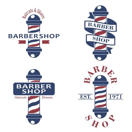 Barber shop poles set. Hairdressing saloon icons isolated on white background. Barbershop sign and symbol.