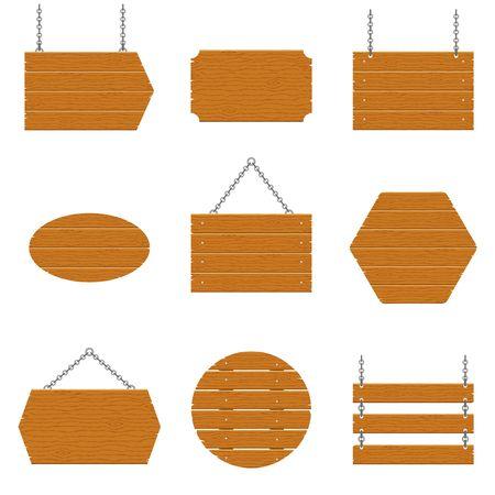 Enseignes en bois et jeu de planches de bois isolé sur fond blanc. Vecteurs
