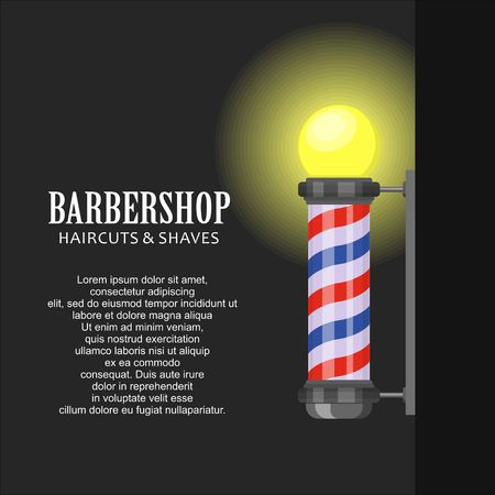 Barber shop pole with stripes on dark background. Barbershop sign, hairdresser symbol in flat style. Banner template Vector illustration Çizim
