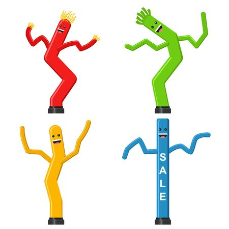 Dancing inflatable tube man set in flat style isolated on white background. Wacky waving air hand for sales and advertising. Vector illustration