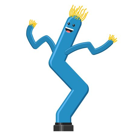 Dancing inflatable blue tube man in flat style isolated on white background. Wacky waving air hand for sales and advertising. Vector illustration