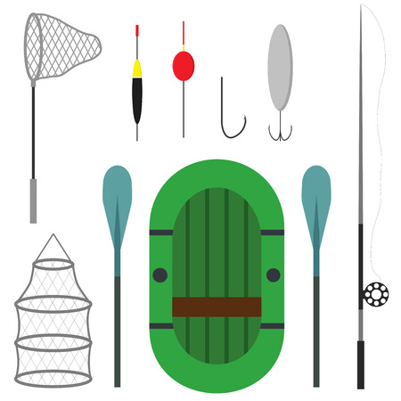 Differeent fishing equipment icons isolated on white background. Fishing boat, equipment, landing net and spinning. Vector illustration
