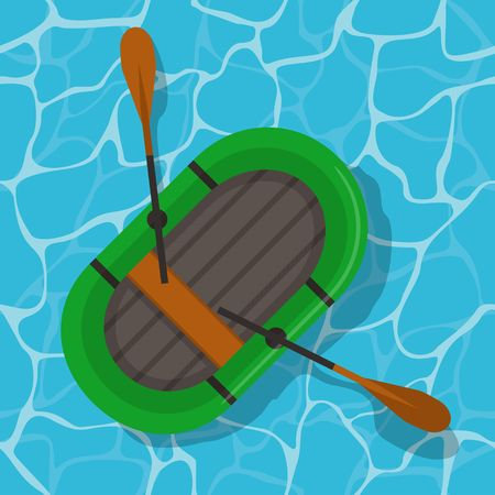 Inflatable boat with paddles on water. Top wiev green rubber boat swim and oars in flat style. Vector Illustration