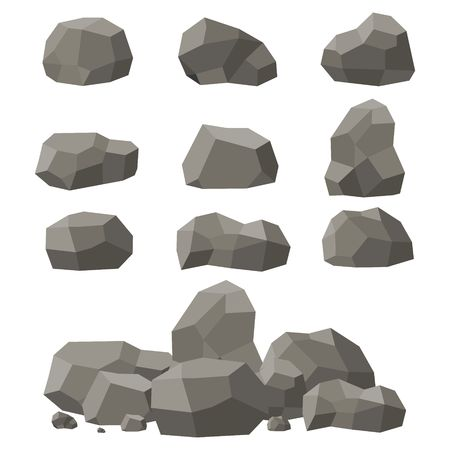 Rocks and stones set, single or piled on white background. Stones and rocks in isometric 3d flat style. Set of different boulders. Vector illustration
