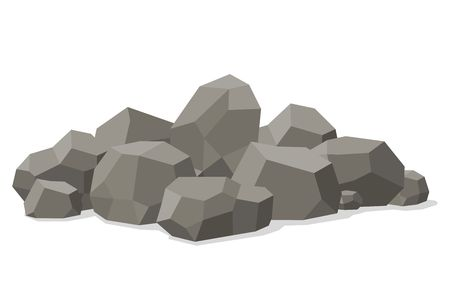 Rocks and stones piled isolated on white background. Stones and rocks in isometric 3d flat style. Different boulders. Vector illustration